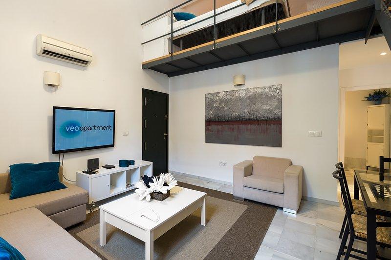 Salon avec télévision par câble.
