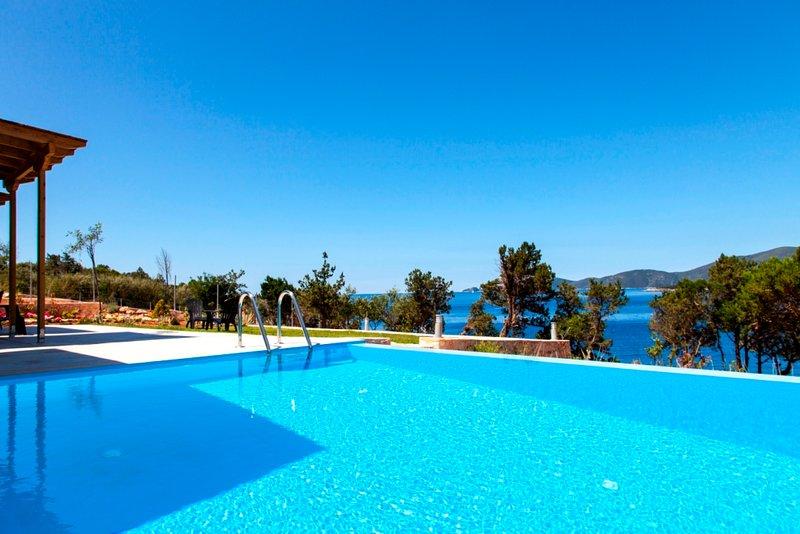 Private villa , with private sea front space and way to swim, location de vacances à Apollonii