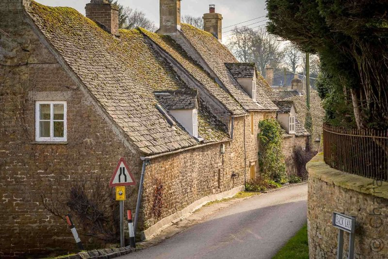 The quiet streets of Upper Oddington are lined with traditional Cotswold stone cottages
