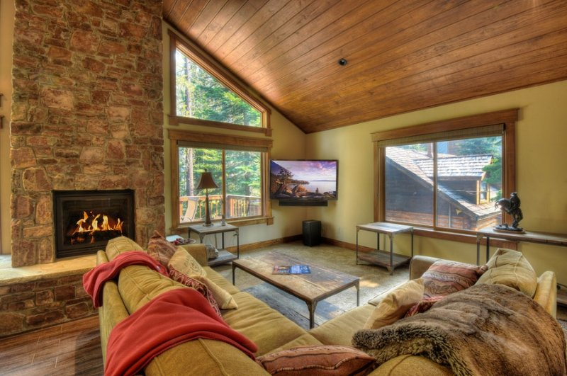 Confortável sala de estar com lareira a lenha, TV de tela plana, e estar confortável sofá