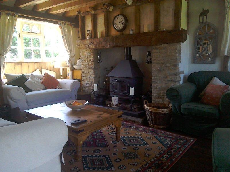 Wohnzimmer mit Kaminecke einen Holzofen eingebaut