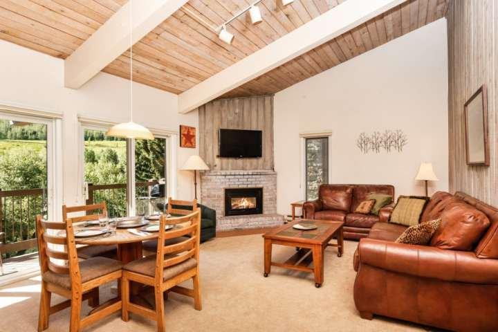 Le salon de cet appartement dispose d'une télévision à écran plat, foyer au gaz, un canapé-lit gigogne et un grand balcon extérieur.