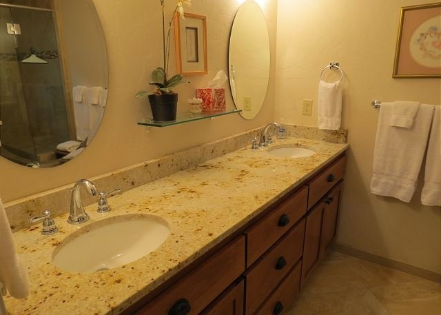 Beautifully updated king master bedroom bath with shower.