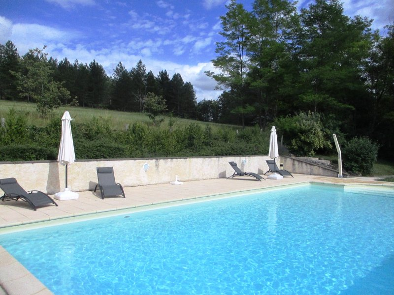 In a green without vis-à-vis large 6x12m swimming pool, summer temperature of 22 to 29 degrees