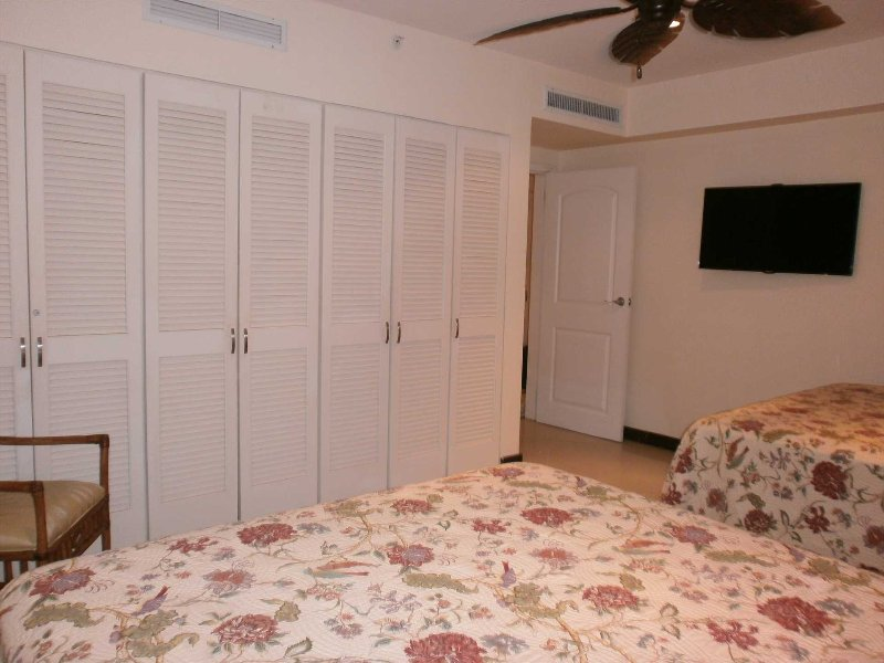 High-definition flat-screen TV and spacious indoor closets