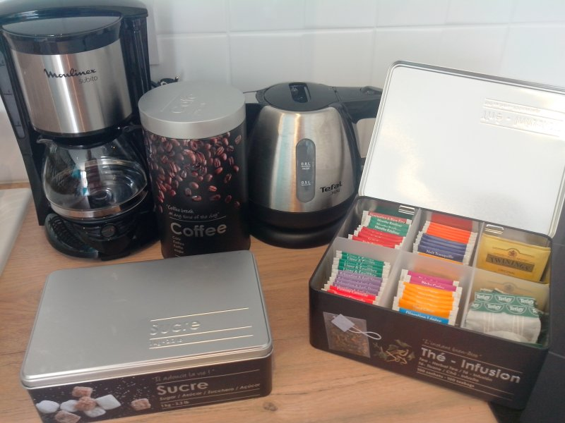 Tea and coffee are available in the apartment