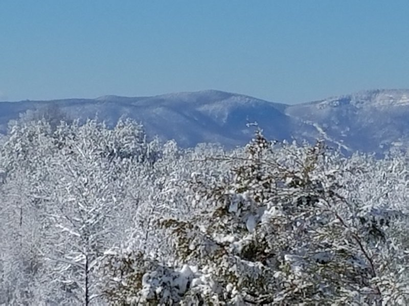 Mountain view from front porch.  Beautiful with snow