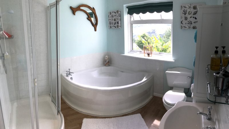 Family bathroom with spa bath and large walk in shower. Stunning sea & countryside views.