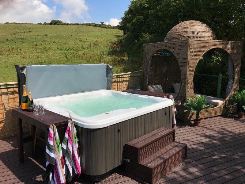 Jacuzzi hot tub and shady cabana.