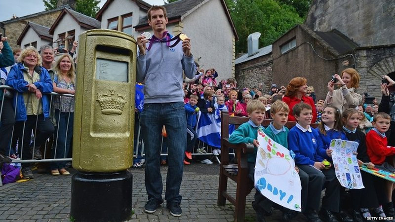 Andy Murray's golden postbox on the High Street