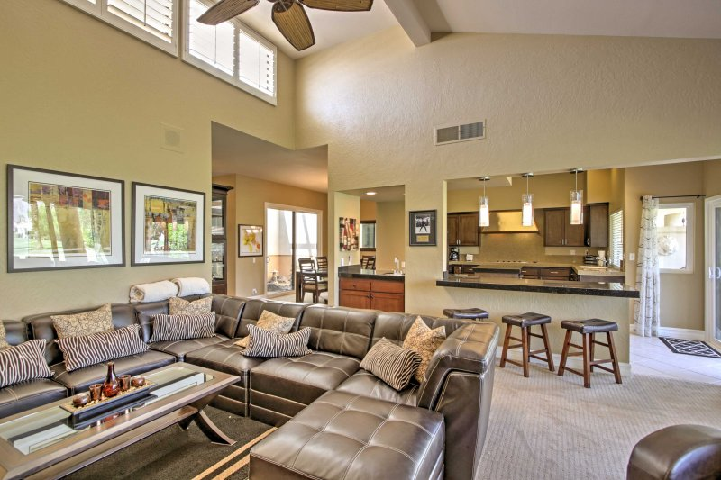 The spacious living room opens up to the kitchen.