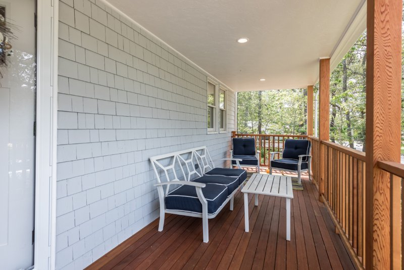 Front Porch,  with Seating Area, (couch has back cushions, missing in photo)