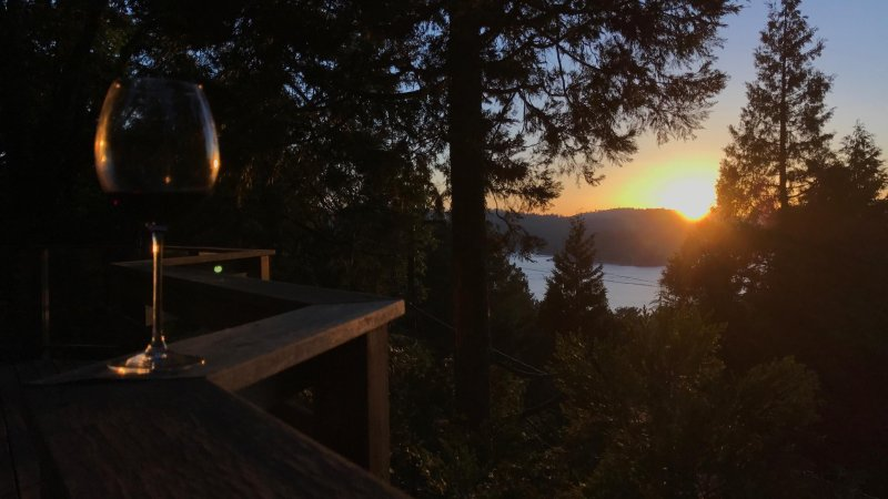 Watching the sun set from the deck