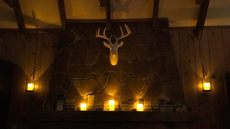 Fireplace stone lit up at night