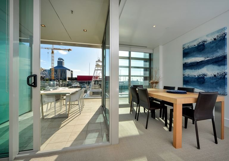 Modern sunny waterfront apartment