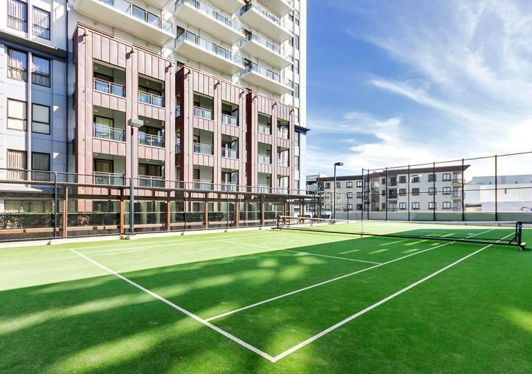 and a tennis court, all available to residents.