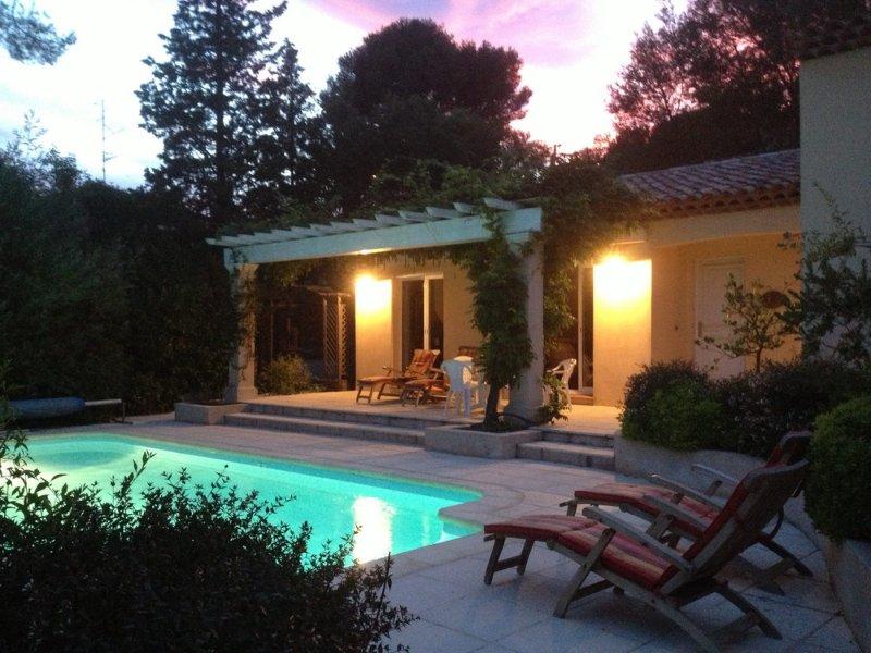 Siéntate junto a la piscina en una calurosa noche de verano.