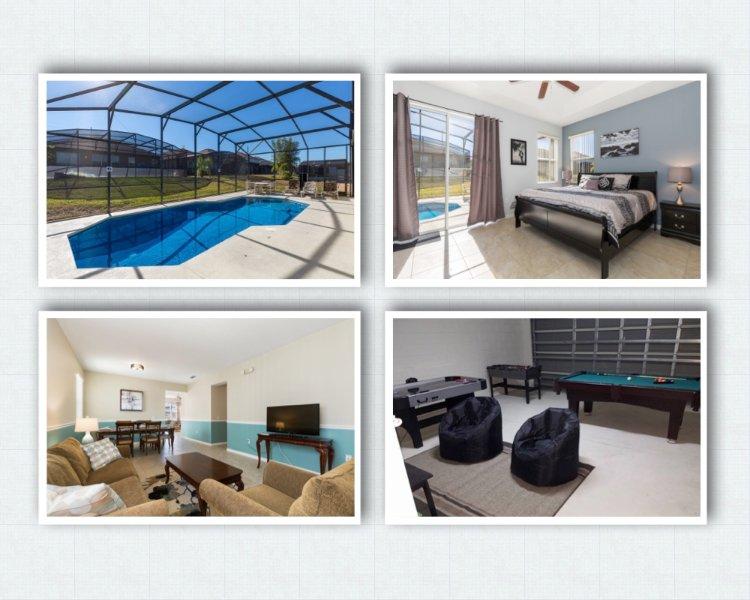 Casa di lusso a 10 minuti da Disney. 4BR, 3 bagni, sala giochi, 2 Liv camera, piscina privata sole tutto il giorno