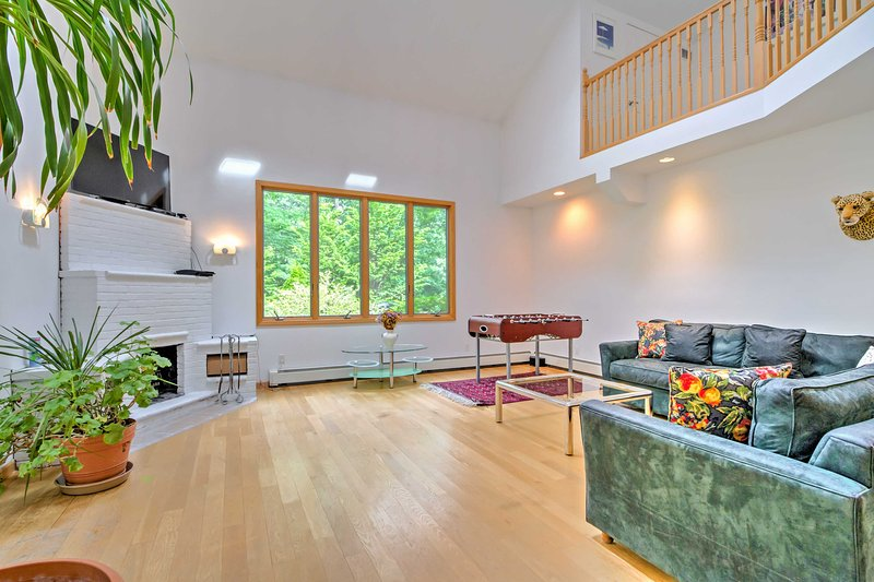 Gorgeous hardwood floors run throughout the main level.