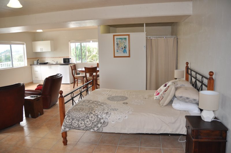 The Studio has a full kitchenette, dining table, bathroom, queen bed and large screen TV.