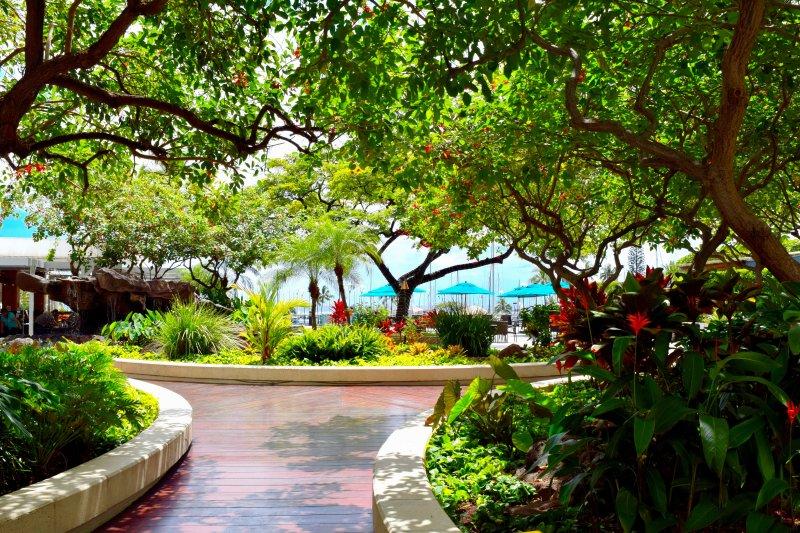 walkway in the building-tropical surroundings