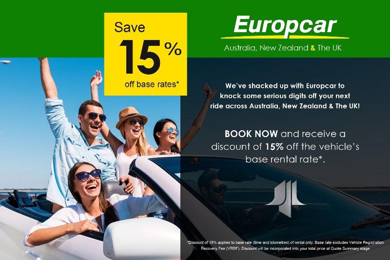 Économisez sur Europcar à travers l'Australie, la Nouvelle-Zélande et au Royaume-Uni après large que vous avez réservé avec nous.