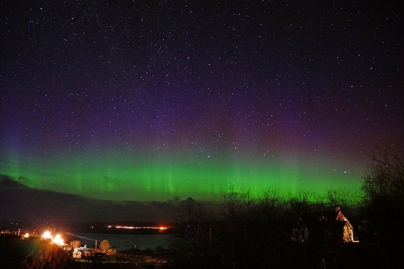 The Aurora borealis as seen from Glendale Cottage