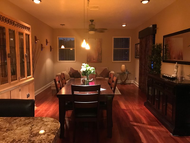 warm and open dining space right off of kitchen