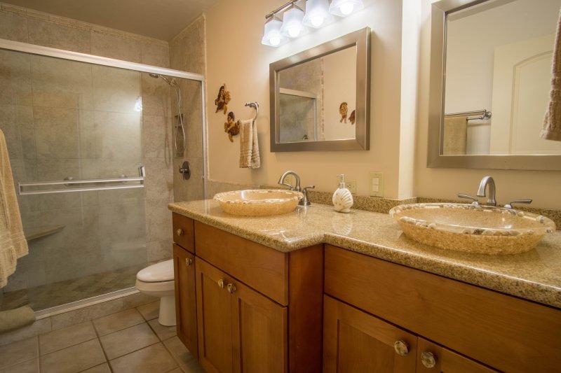 Salle de bains avec douche à l'italienne et double vasque