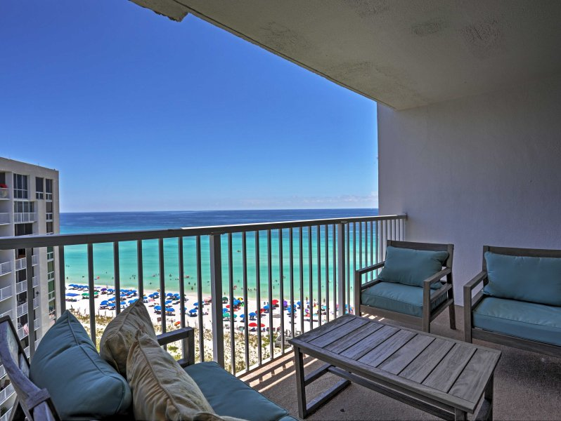 Live the beach life from this 2-bedroom, 2-bathroom vacation rental condo which sleeps 10 in Destin!