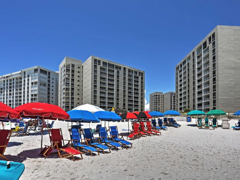 You'll have private access to the beach from Shoreline Towers!