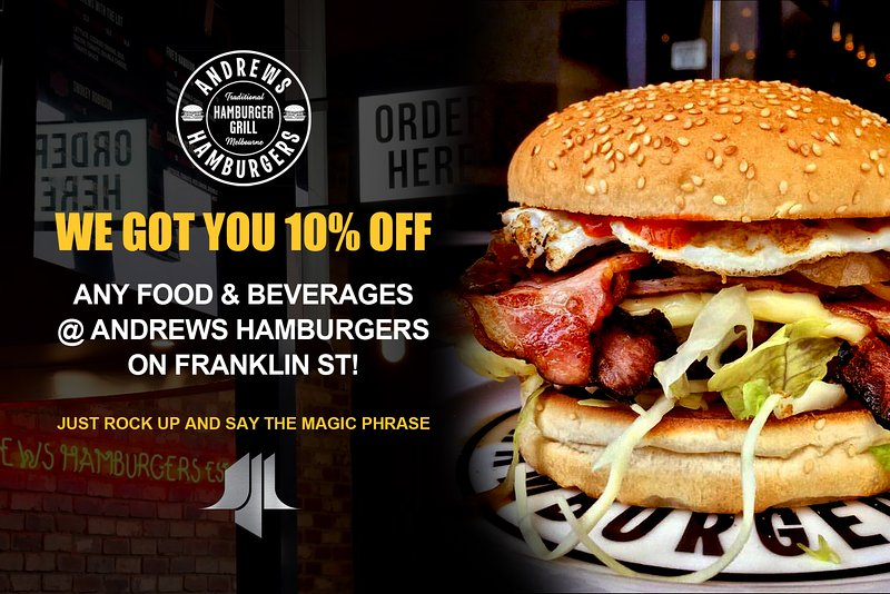 10% de réduction sur tous les aliments et les boissons à hamburgers Andrew Franklin St!