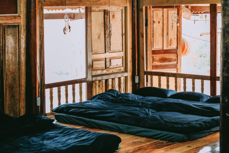 The warm-beds in a natural and traditional wooden house