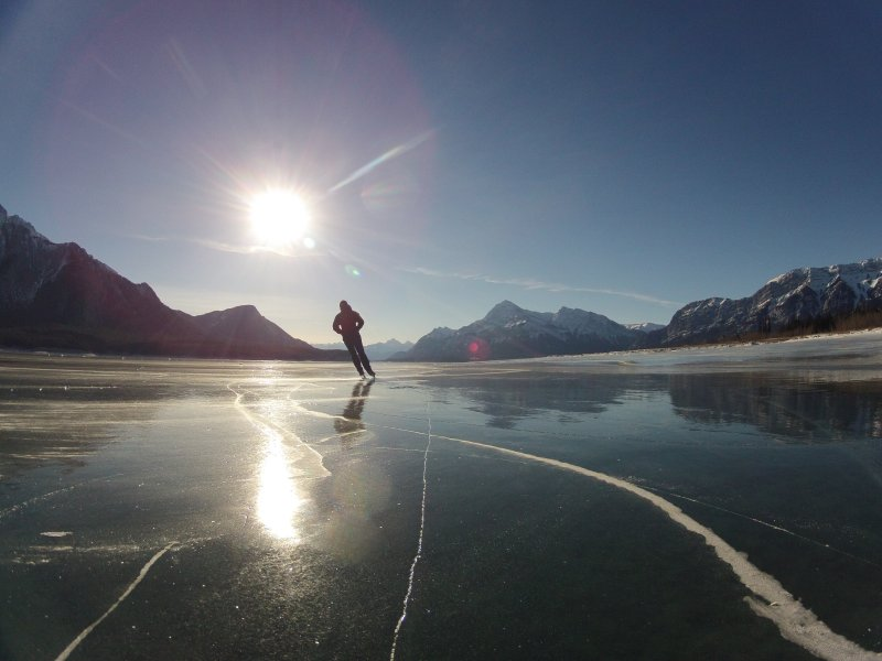 Ice skating on Abraham Lake - about 15 min drive from us