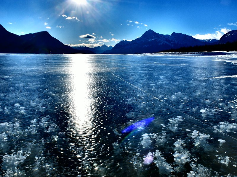 Abraham Lake frozen with famous methane bubbles - about 15 min drive from us