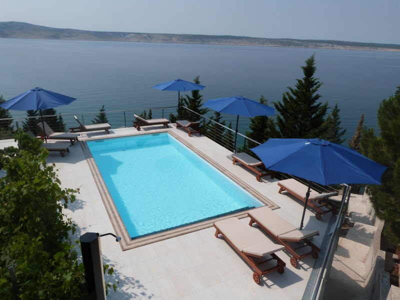 Deluxe · Exceptional apartment with infinity pool and a private beach in villa, holiday rental in Kukljic