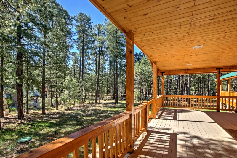 Spend hours relaxing in the shade and enjoying the views  from the private deck!