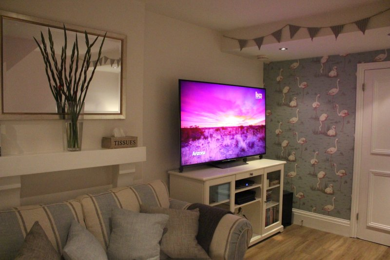 Full Sky TV is accessible on the 65' TV with a playstation connected.  Free Wifi is provided.
