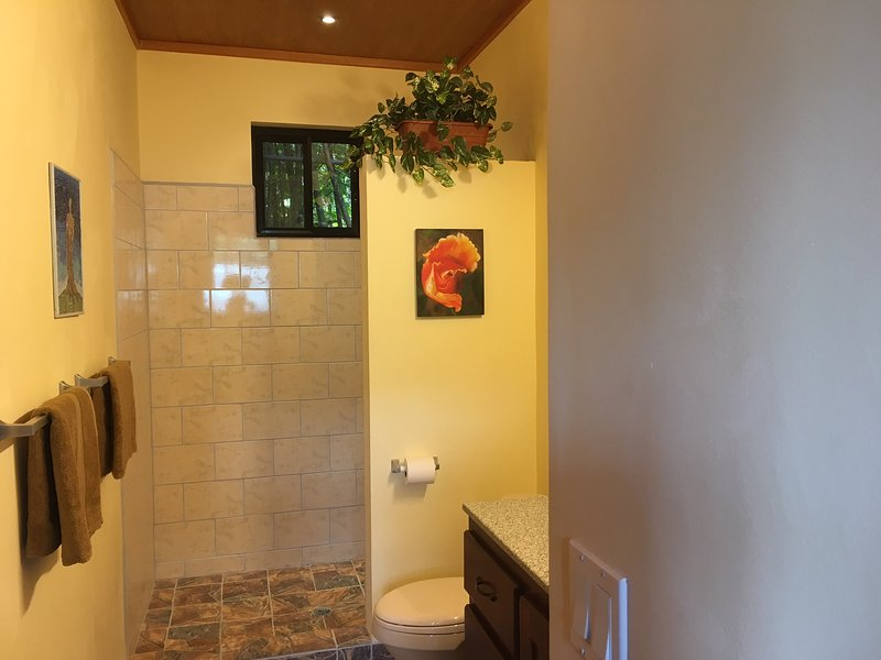 Large walk-in shower and bathroom for your comfort.