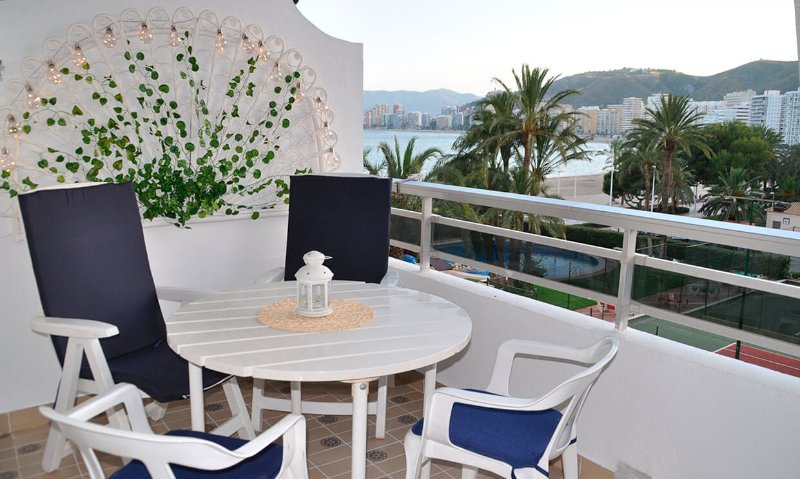 Sea views from the terrace of Palm Three Apartment