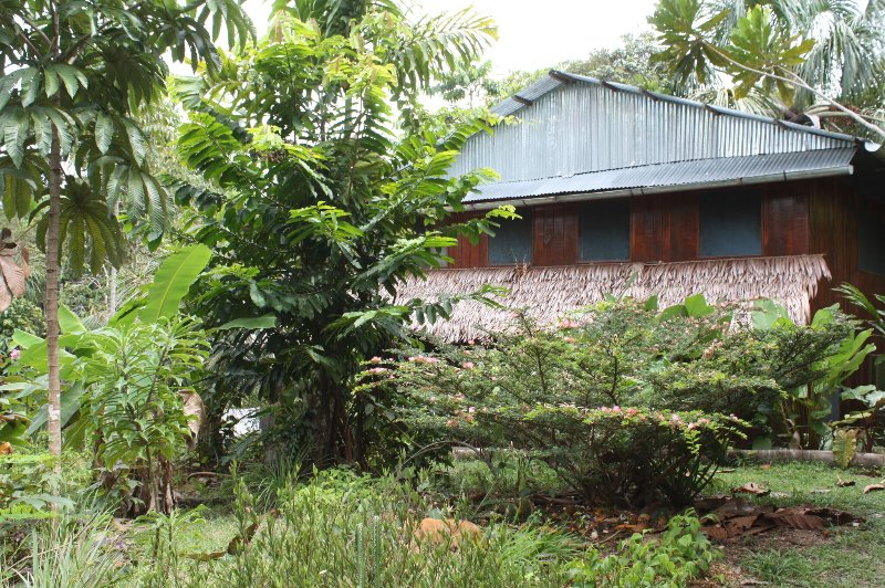 Main Lodge offers lodging, dining, lounge space, hammocks, spiritual book library, tiled baths more
