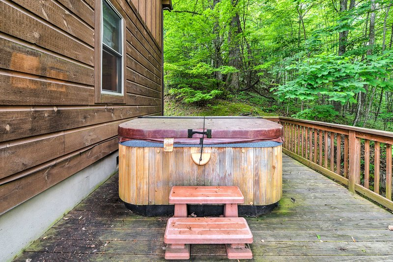 Soothe your sore muscles in the hot tub.