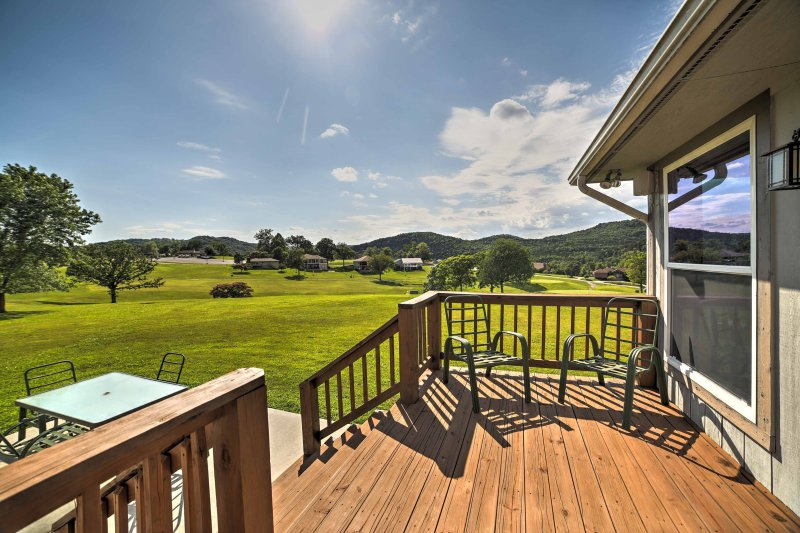 Enjoy views of the countryside and golf course from this private patio.