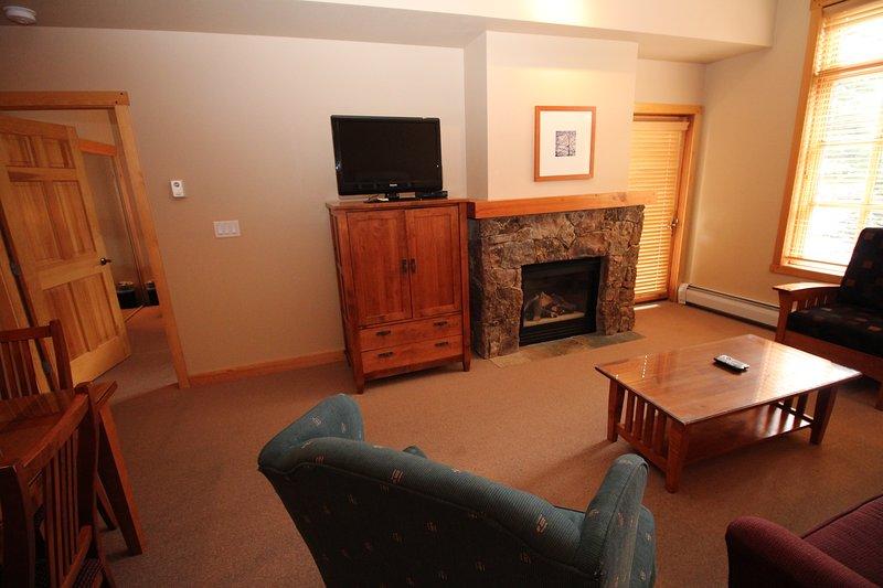 Kamin und Flachbild-TV im Wohnzimmer