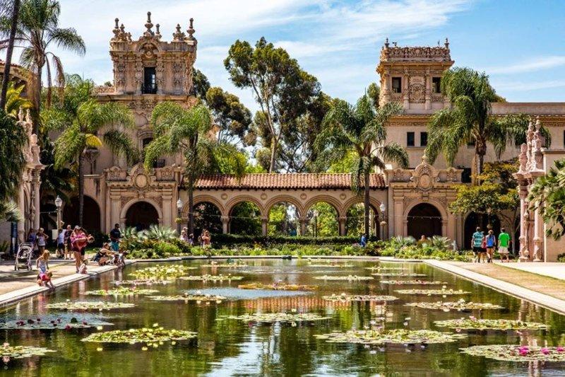 Minuti di destinazioni turistiche di San Diego, tra cui Balboa Park, UCSD, e le spiagge di La Jolla.