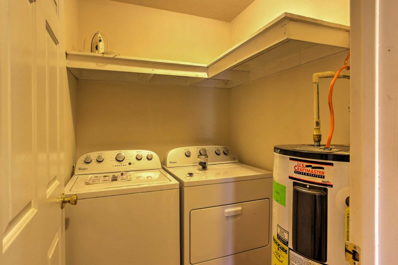 In-unit laundry machines make for easy cleaning of your clothes after long days outside.