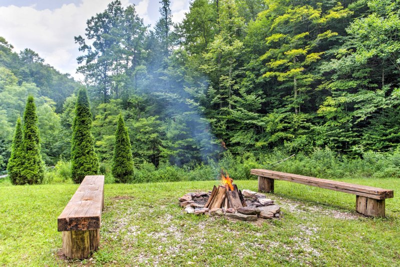 Retreat to the outdoor fire pit to warm up on chilly nights.