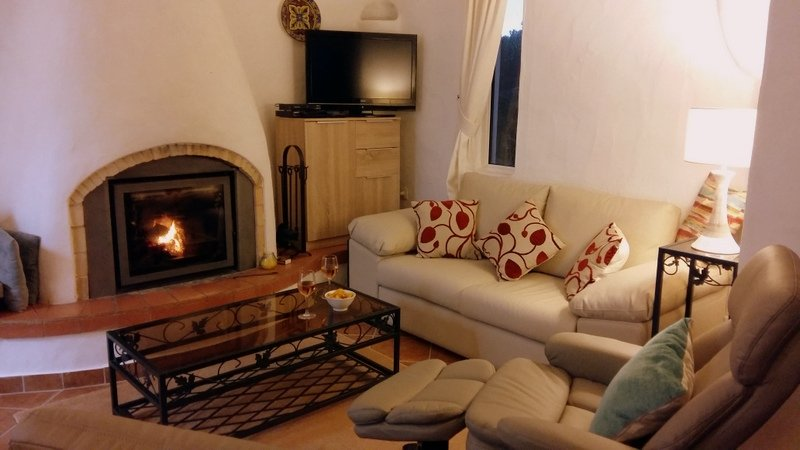 Living area with satellite TV and log burner for the winter evenings