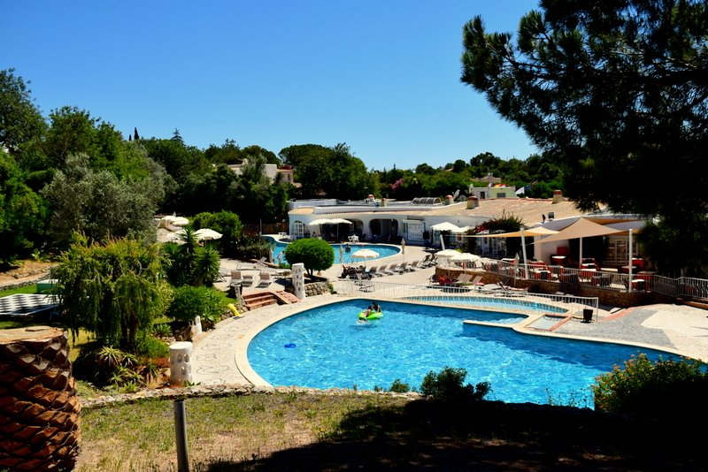 Photo of the central pool and bar areas taken just a few metres away from Casa Kefina
