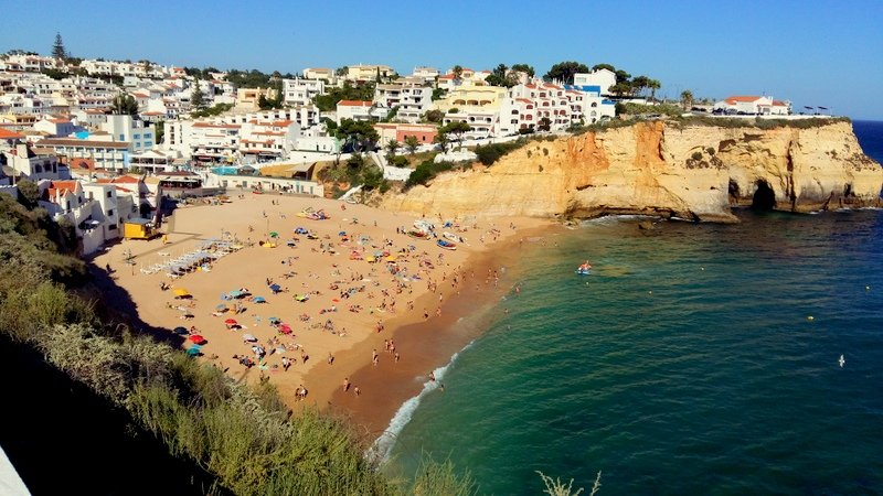 View of Carvoeiro town and beach